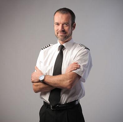 Retrato piloto do avião