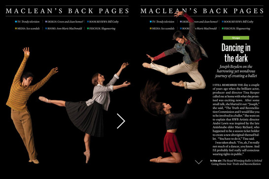 Maclean's Magazine - Royal Winnipeg Ballet's Going Home Star: Truth & Reconciliation