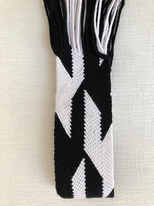 Black Geometric Wayuu Yoga Strap