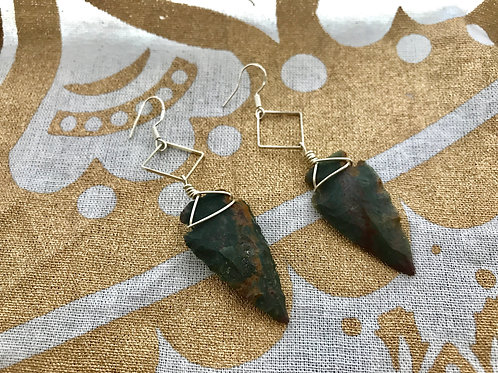 Earth Stone Arrowhead Wired Earrings