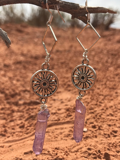 Purple Titanium Quartz Sun Earrings