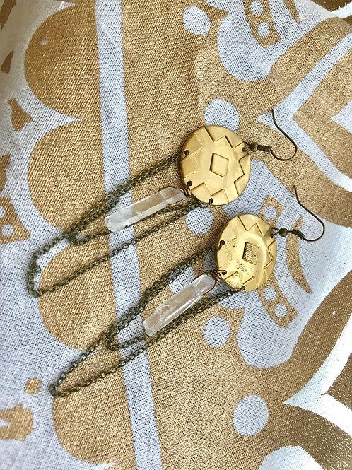 Gypsy Cross Stamped Crystal Quartz Earrings