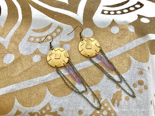 Cross Stamped Purple Titanium Quartz Earrings