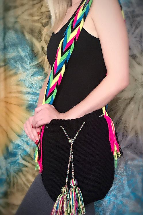 Hot Pink Rasta Wayuu Black Boho Bag
