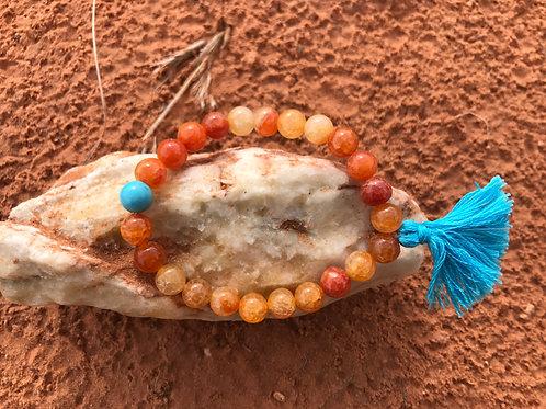 Fire Agate Mala Bracelet