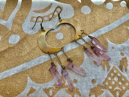 Crescent Moon Purple Titanium Quartz Earrings