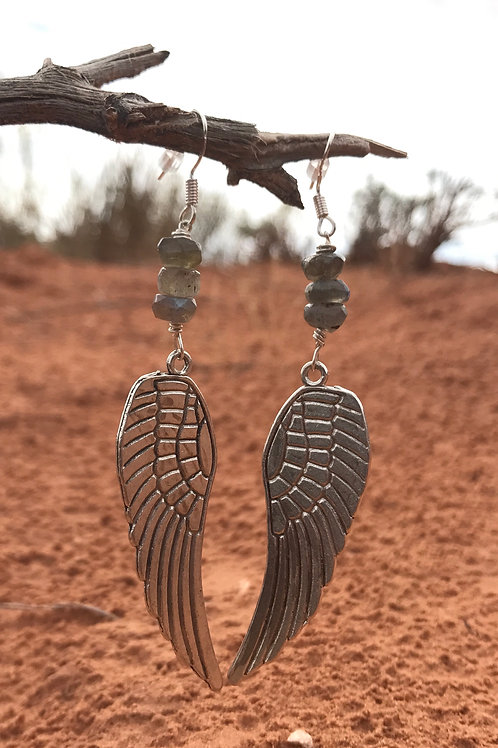 Fly With Me Silver Wings Earrings