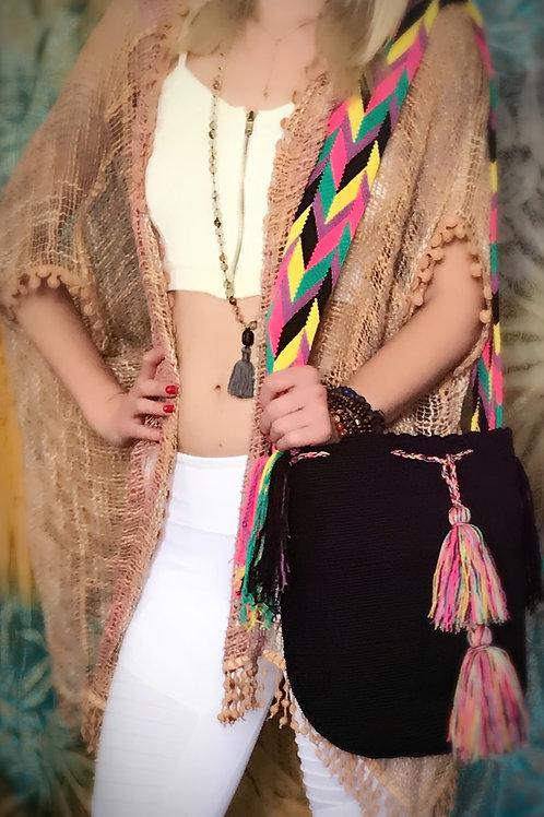 Phoenix Rise Wayuu Black Boho Bag