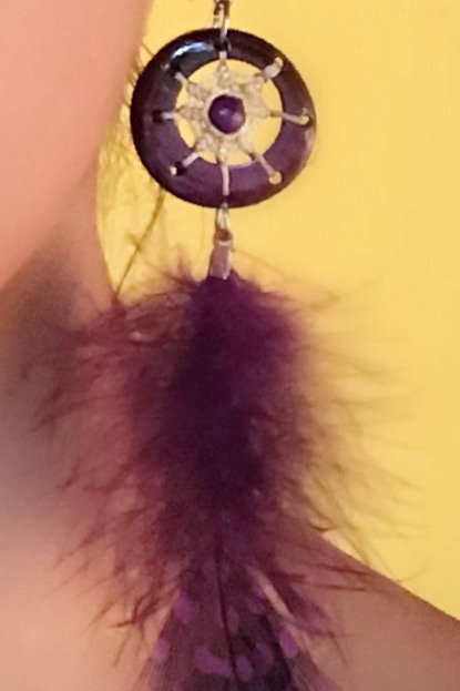 Wild Orchid Dream Catcher Feather Earrings