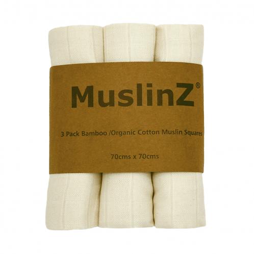 MuslinZ Organic Cotton Muslin Squares (3 Pack)