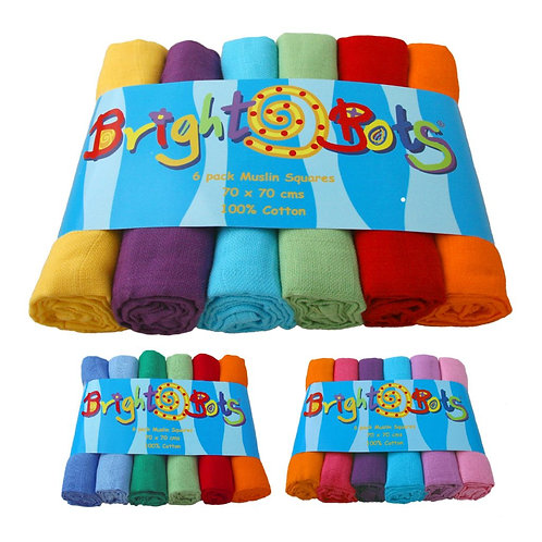 Brightbots 6 pack multicolour Terry Towelling Nappies