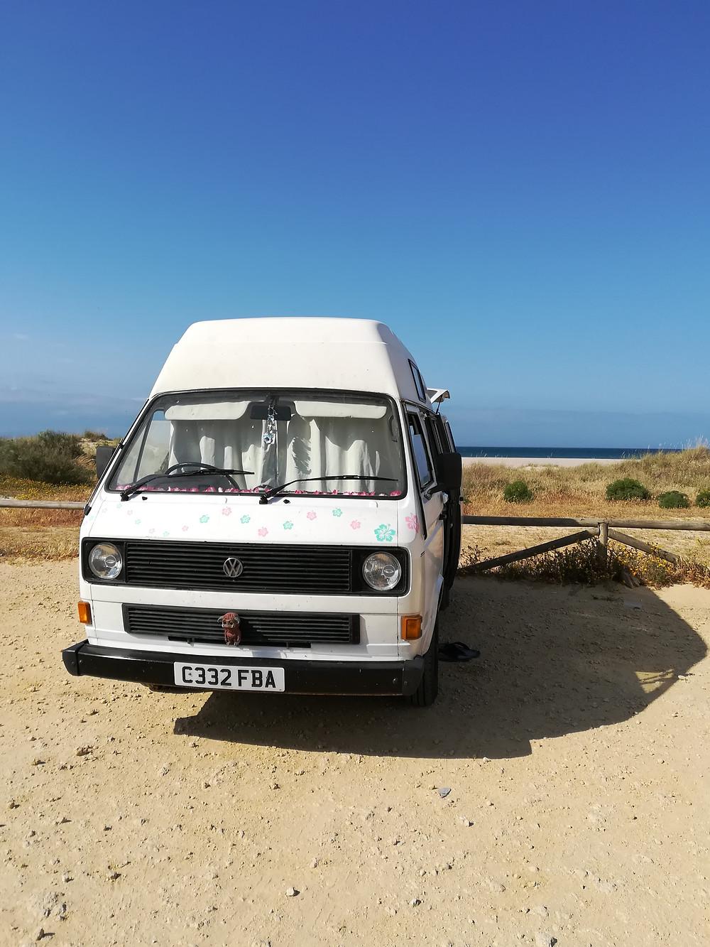 T25 campervan beach wild camping