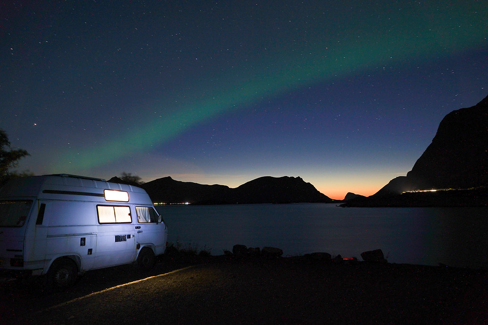 Northern lights T25 campervan wild camping