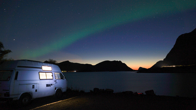 T25 campervan Northern Lights