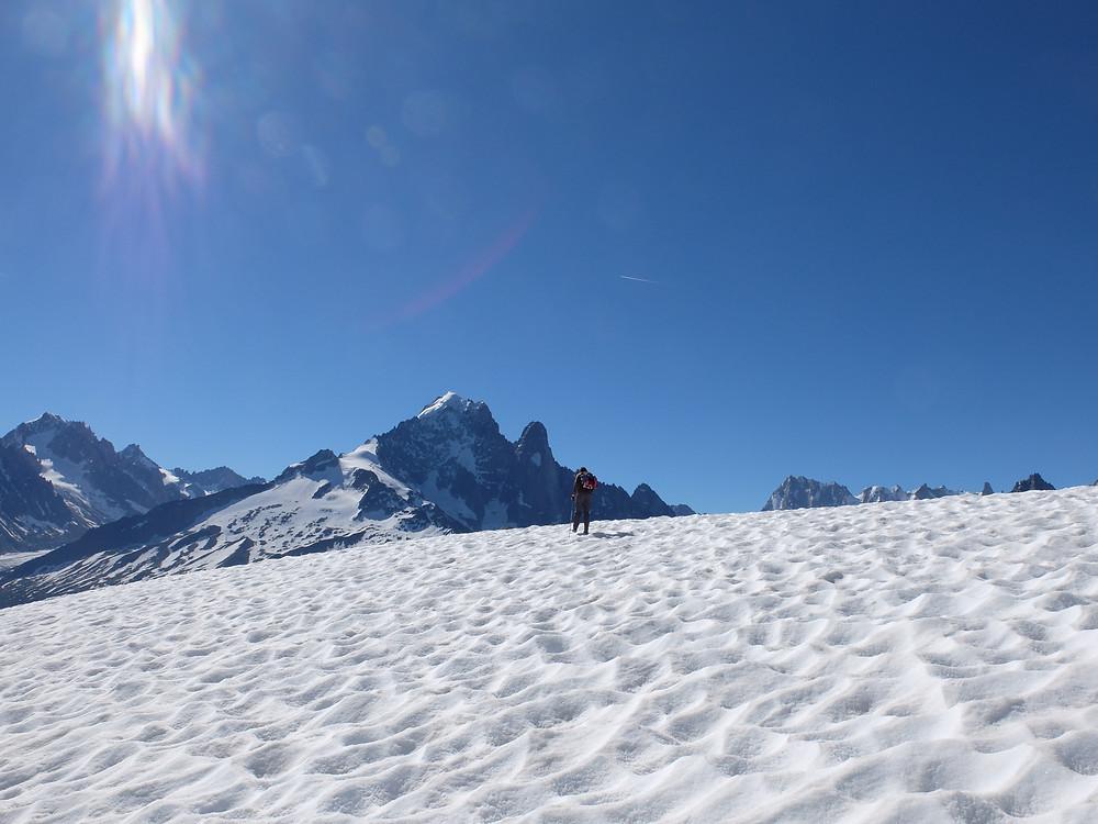 Hiking Chamonix, summer snow