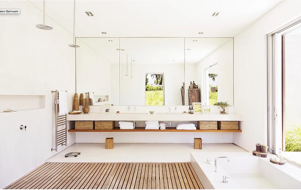 bathroom, biophilia, biophilic design