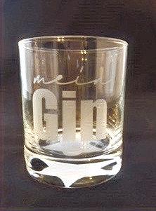 """Glas """"mein Gin"""""""