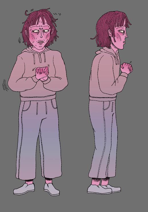 nervous woman character design