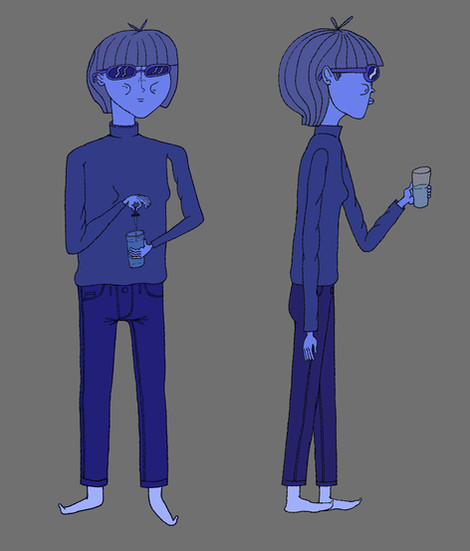 blue lady character design