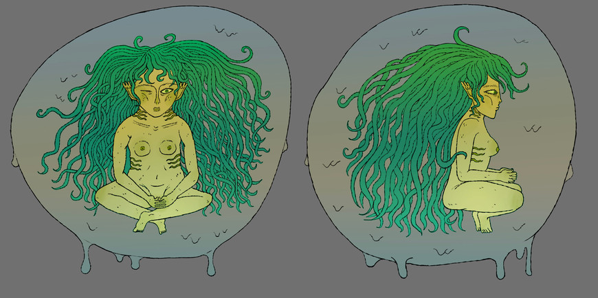 fish girl character design