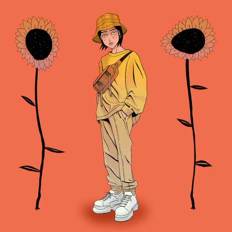 Sunflower Girl Illustration