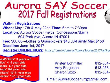 Aurora Soccer Association Fall Registration