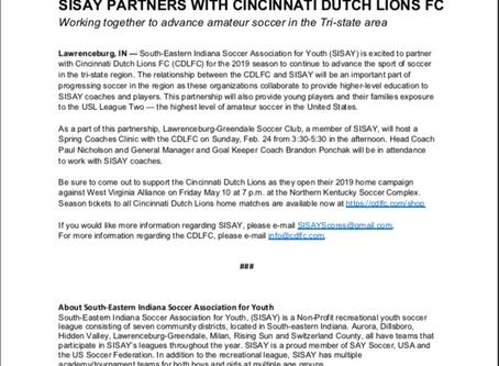 SISAY PARTNERS WITH CINCINNATI DUTCH LIONS