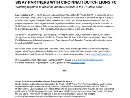 SISAY PARTNERS WITH CINCINNATI DUTCH LIONS
