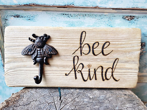 Bee kind with iron hook