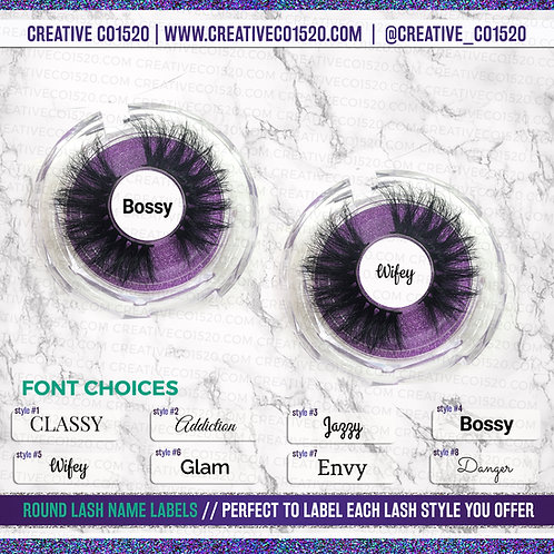 Round Lash Name Labels