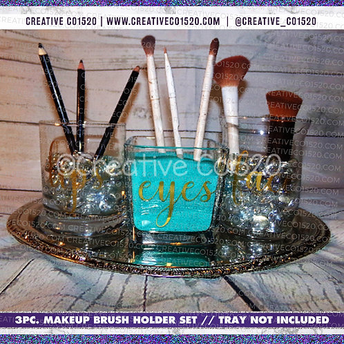 3pc Make Up Brush Holder Set