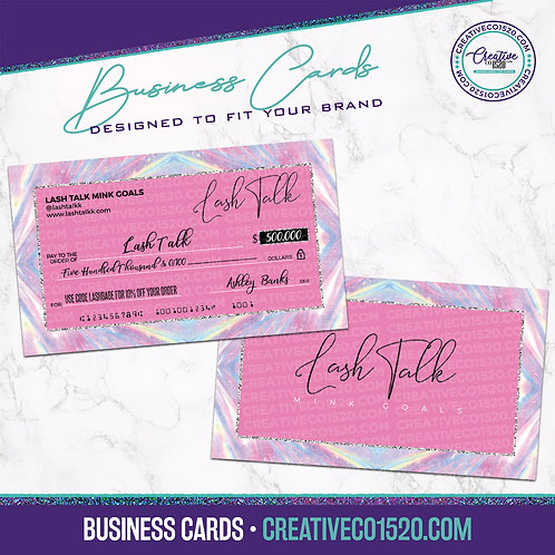 Check Style Business Cards Pink Holographic