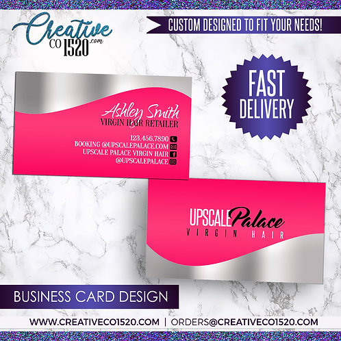 Pink and Silver Business Card