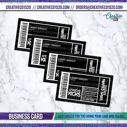 Shoe Label Inspired Business Cards