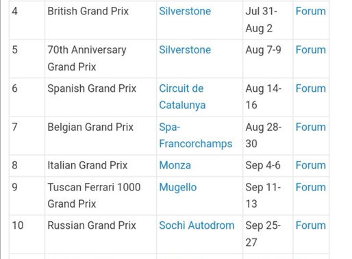 Revised F1 Calendar including Imola and Nurburgring and Portimao