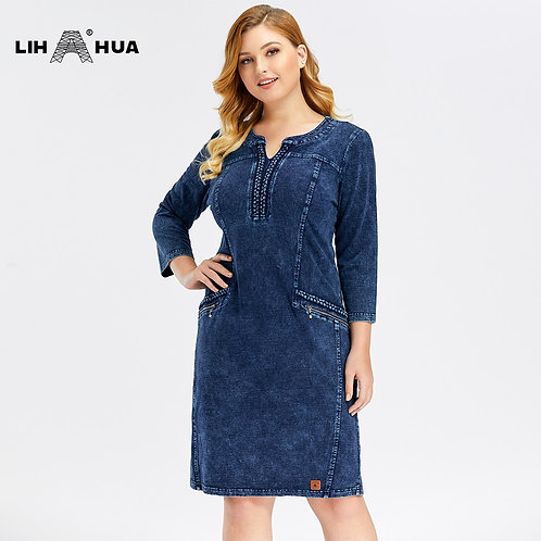 LIH HUA Women's Plus Size Denim Dress Elasticity  Knitted Denim Dresses Slim Fit