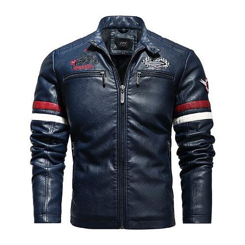 Men's Motorcycle Leather Jacket 2020 Fashion Biker Colorblock PU Jacket
