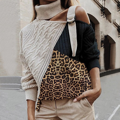 Leopard Sweaters Patchwork Turtleneck Sweater Women Sexy Off Shoulder