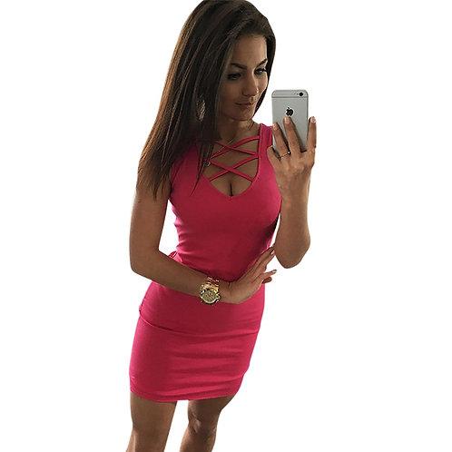 2020 Summer Sexy Slim Women Dress Solid Color U-Neck Cross-Belt Dress Sleeveless