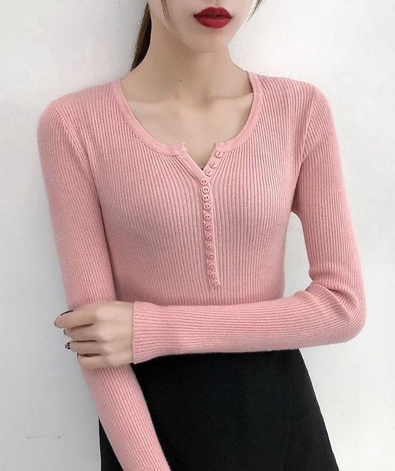 Single Breasted Women Full Sleeve Button V-Neck Sweater 2020 New Knitted Basic