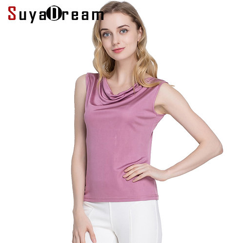 100%REAL SILK Women Tanks Solid Knitted Healthy Tank Tops Draped Neck Silk Vest