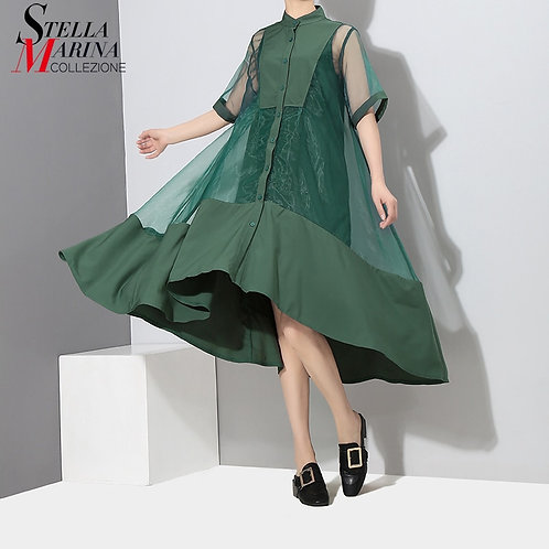 Two Pieces Women Summer Solid Green Midi Transparent Mesh Dress Set Lining Vest
