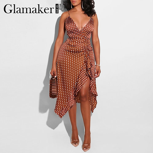 Glamaker Polka Dot Ruffle Red Boho Dress Women v Neck Pleated Bodycon Dress