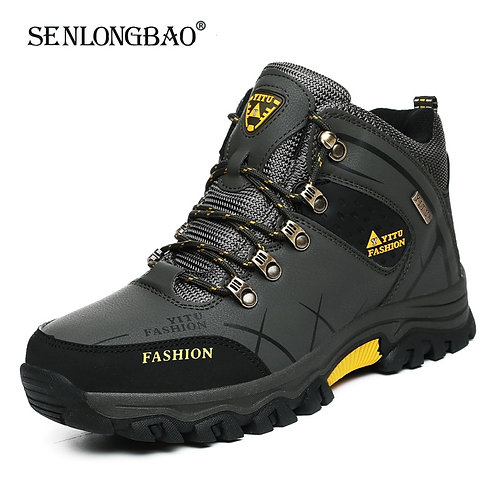 Brand Men Winter Snow Boots Waterproof Leather Hiking Boots