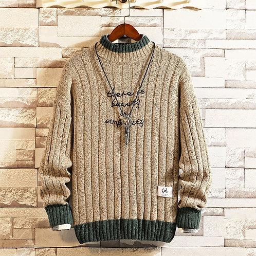 Hybskr Men's Winter Warm Sweater Korean Streetwear Fashion Embroidery Pullovers
