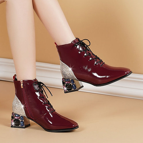 Spring Fall Shoes Woman 2020 Ankle Boots Rhinestone Block Heel Soft Leather