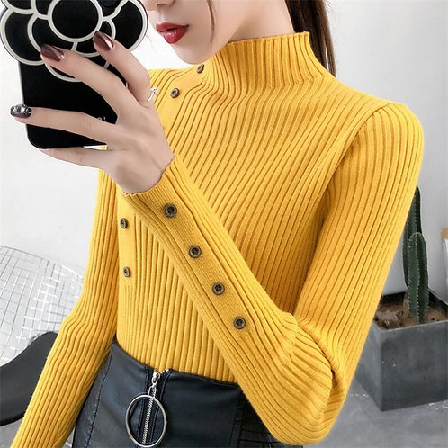2020 Women Autumn Knitted Slim Sweaters Solid Knitted Female Cotton Soft Elastic