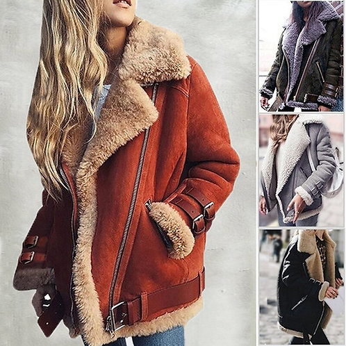 Cool Pilot Jacket Faux Fleece Woollen Motorcycle Jackets Women's Coat