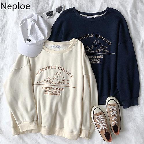 Neploe Letter Embroidery Women Sweatshirt Loose Spring Autumn Hoody