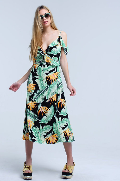 Black Midi Dress in Tropical Leaves